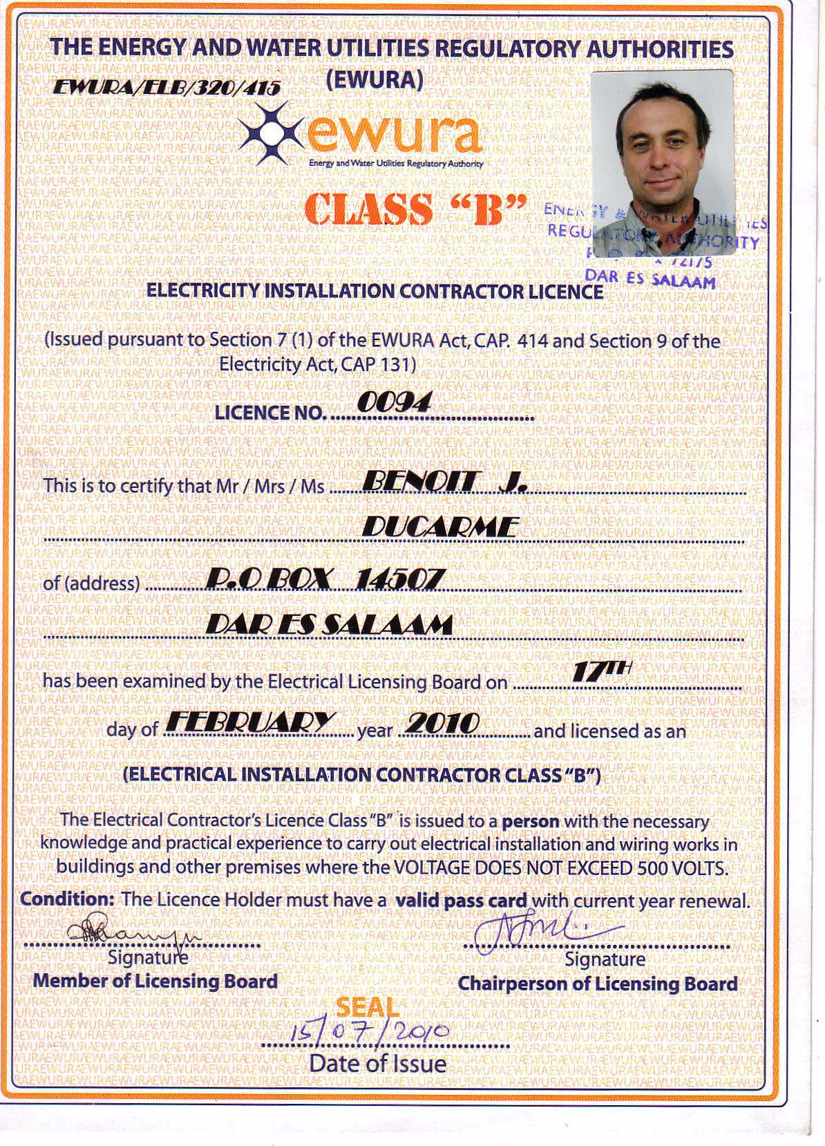 Contractor Licence B