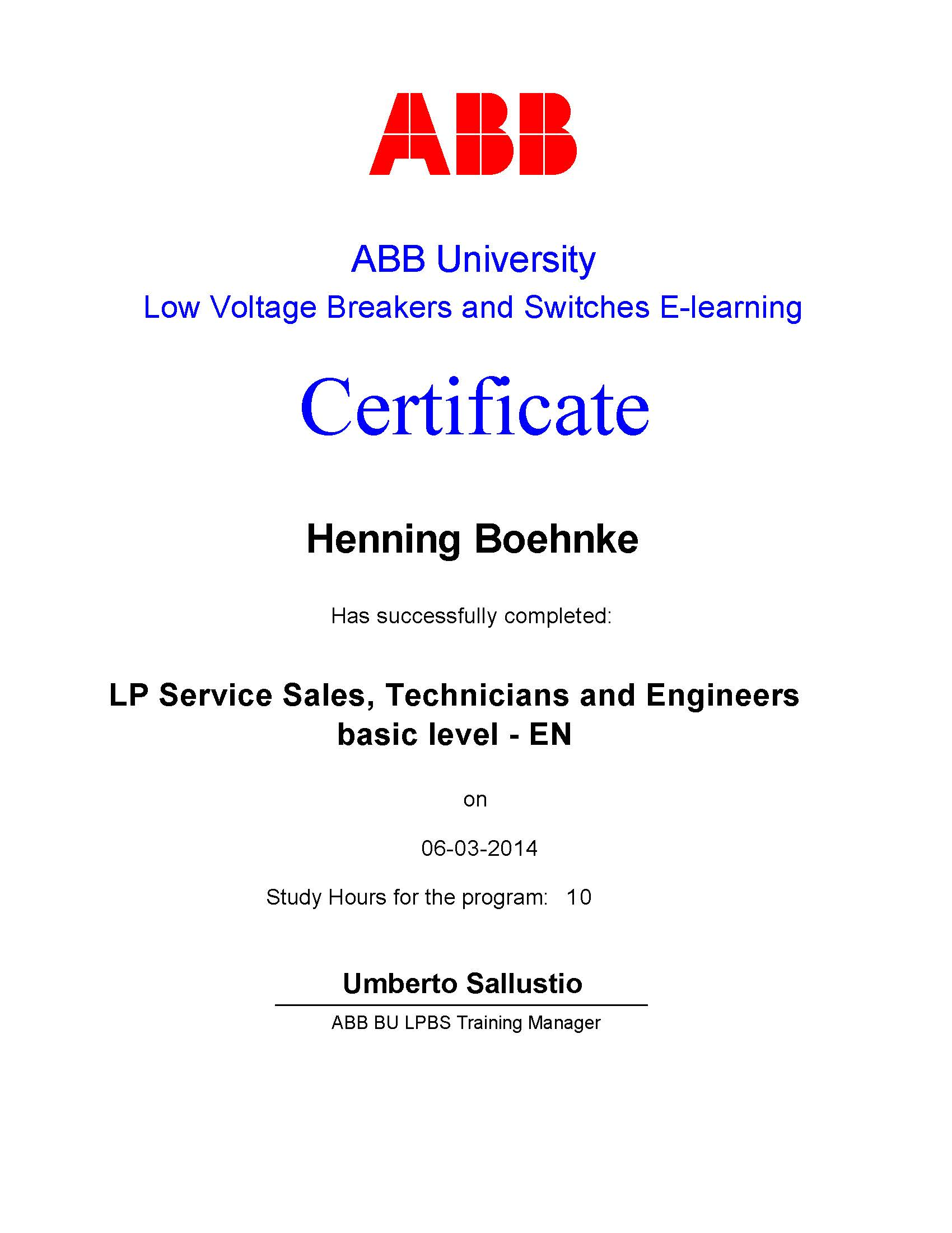 LP Service Sales, Technicians and Engineers Basic Level