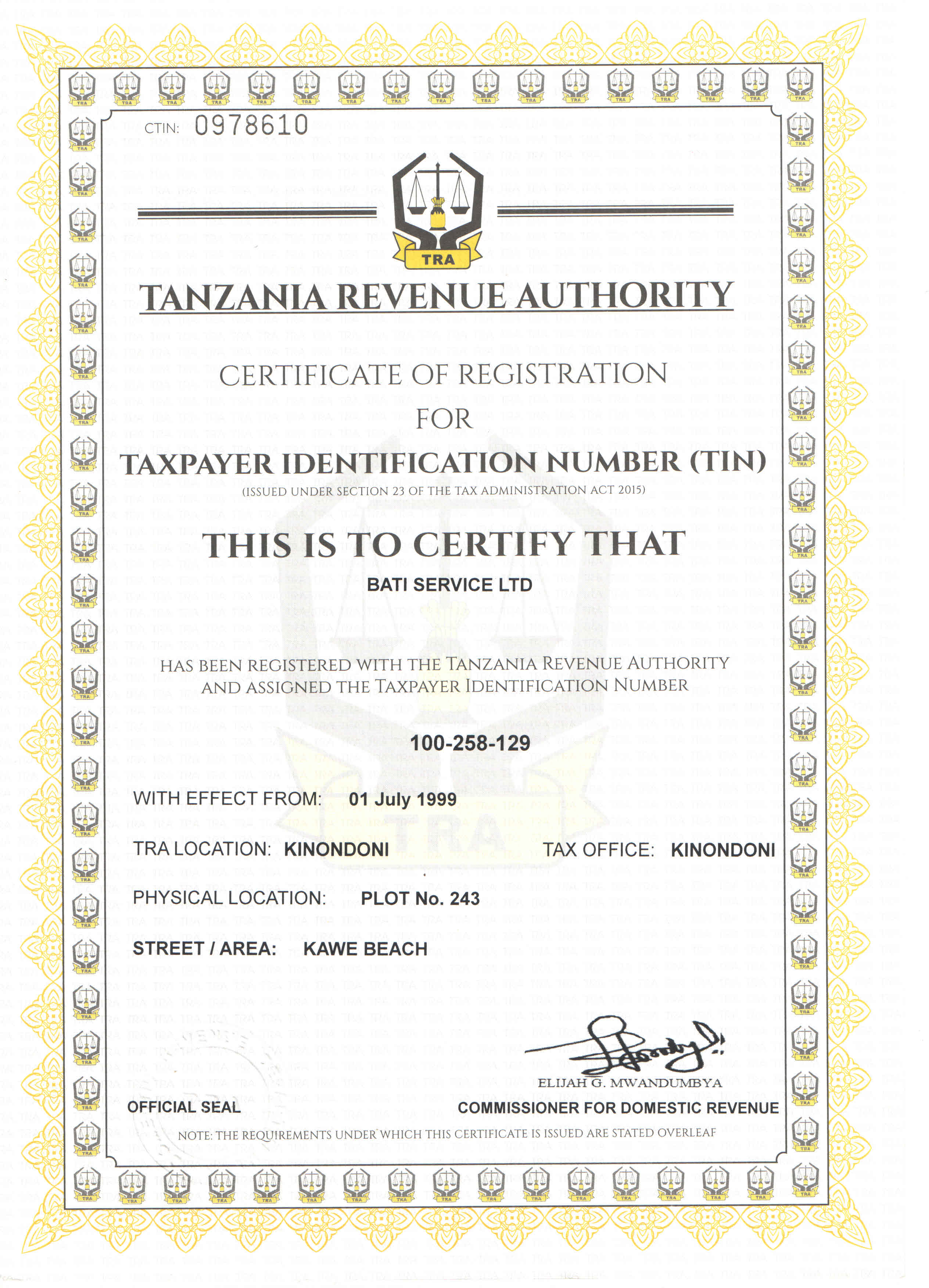 Certificate of Registration for TIN