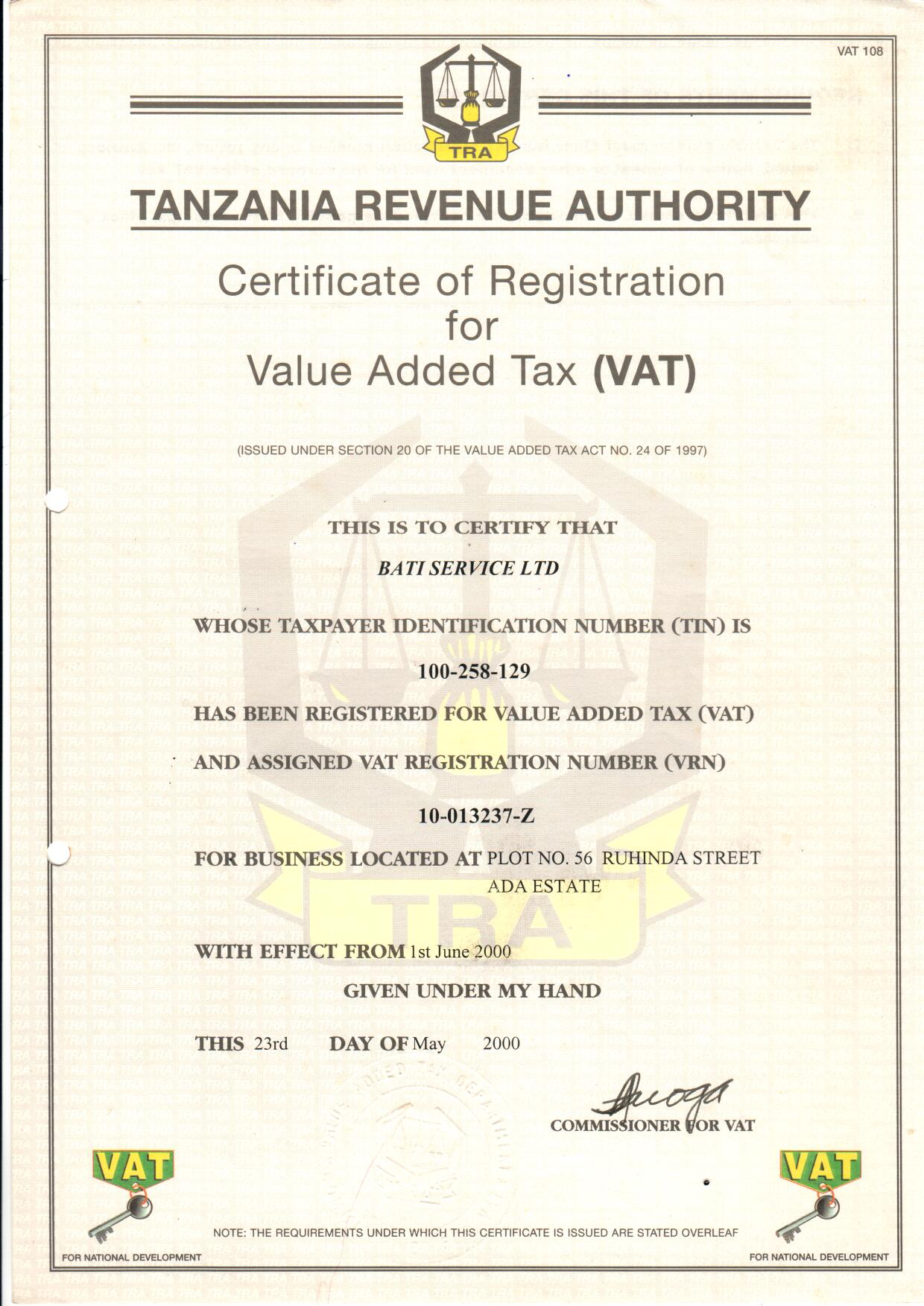 Certificate of Registration for VAT