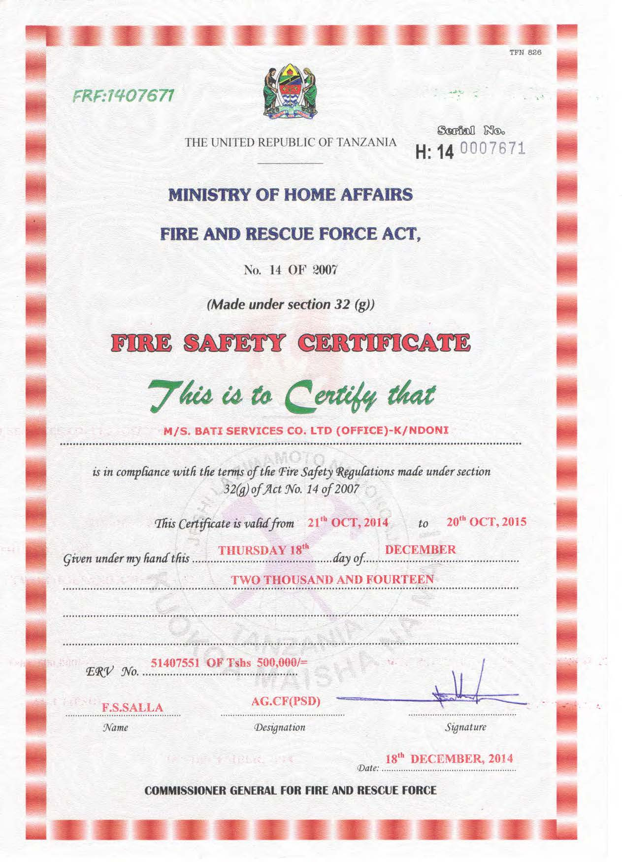 Fire Safety Certificate