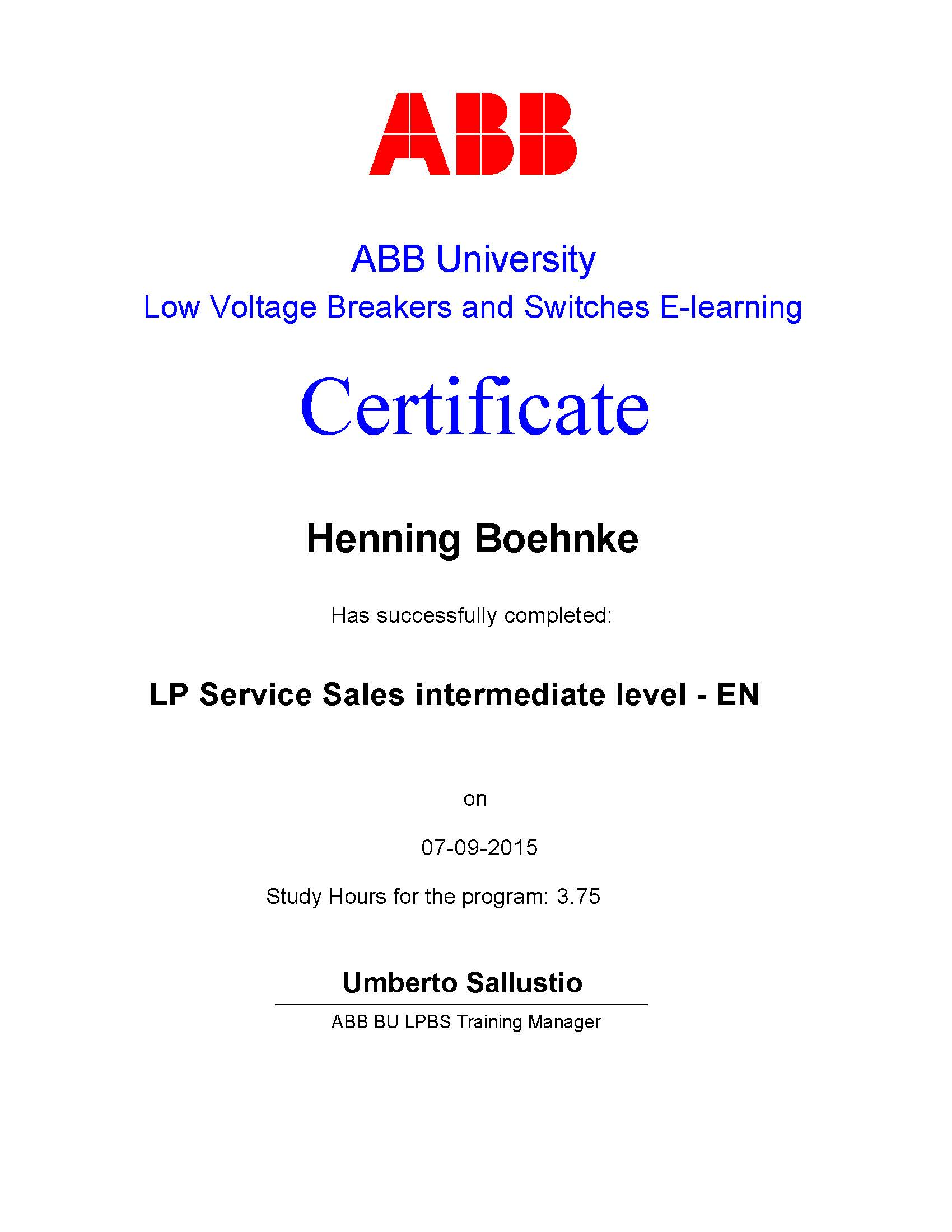 LP Service Sales Intermediate Level