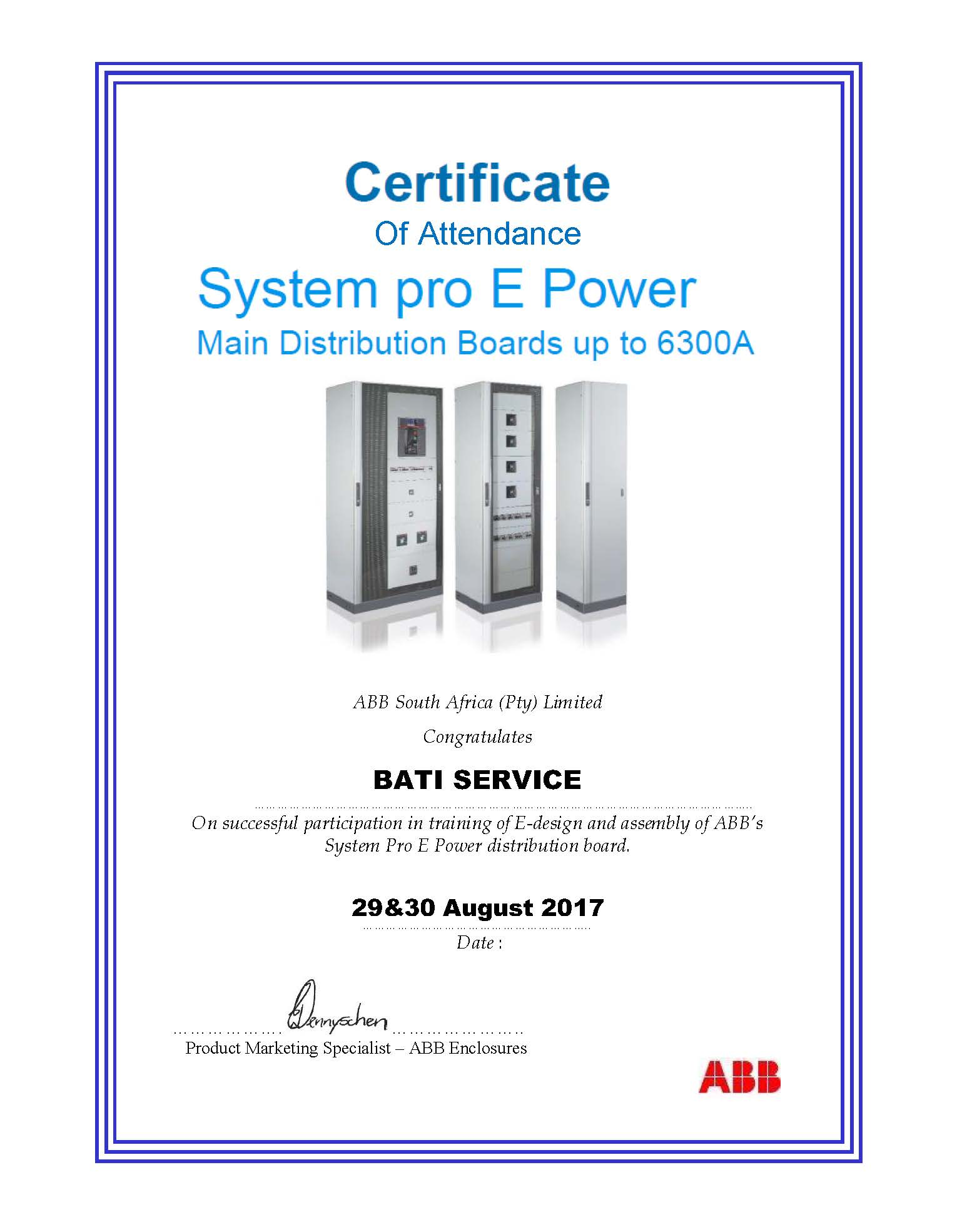 Certification of Attendance System pro E Power