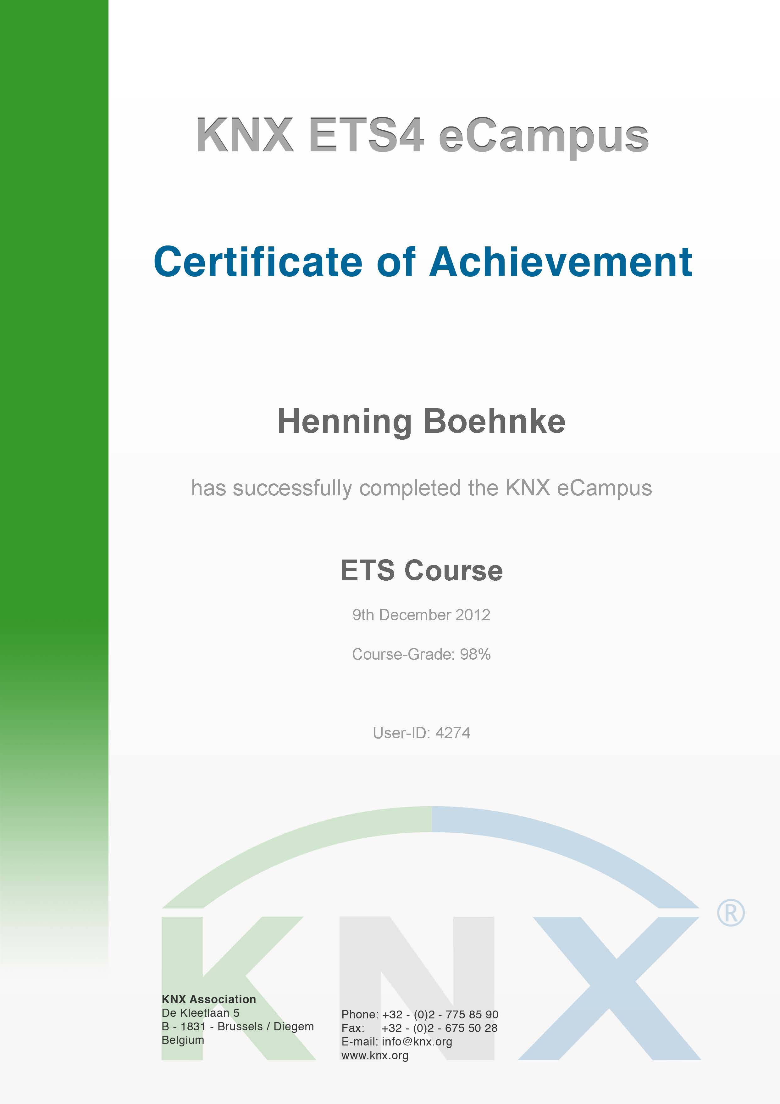 KNX ETS4 Certificate of Archievement
